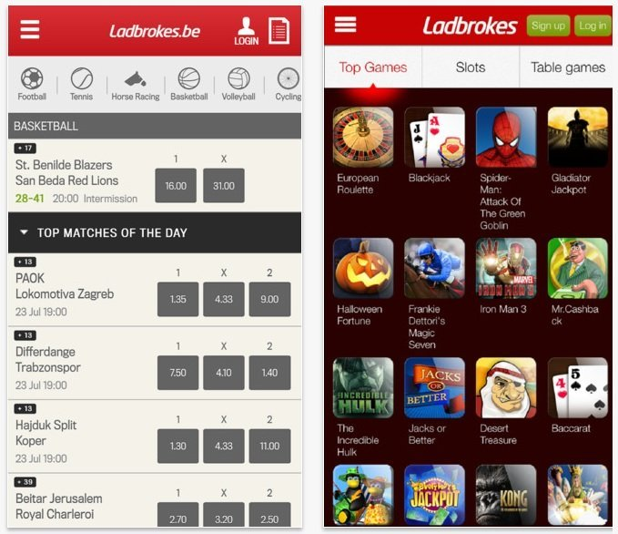 Application mobile Ladbrokes Belgique